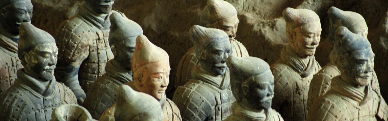 En lille del af kejser Qin Shi Huang's 10.000 mand store Terracotta hær (Kina)